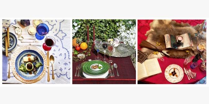 Imagens de mesas com os artigos decorativos de gastro-joalharia e outros utilitários da Maria João Bahia.