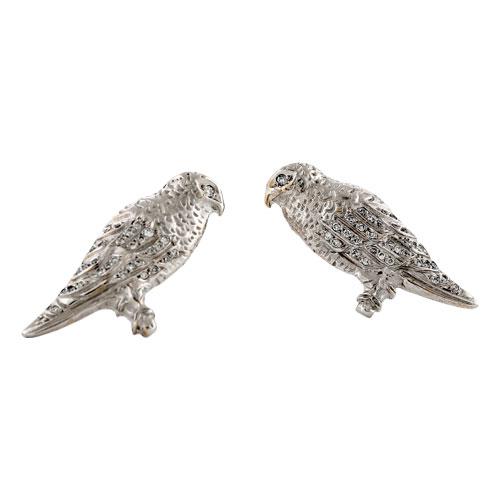 Botões de punho em forma de aves.