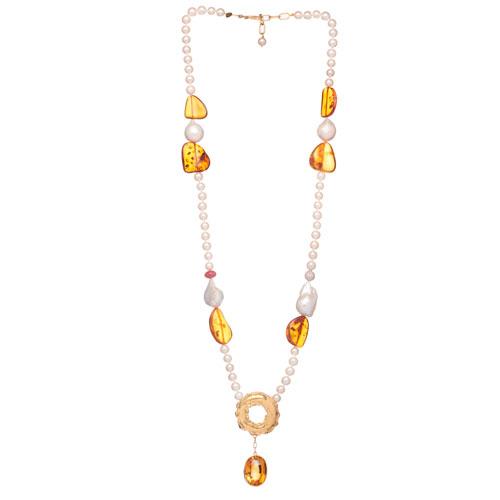 Colar em ouro amarelo com topázios, rubi, diamantes, âmbar, pérolas brancas e akoya.