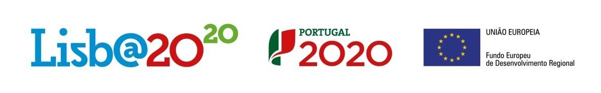 Logótipos Lisboa2020 (a azul, vermelho e verde), Portugal 2020 (a verde e vermelho) e símbolo da União Europeia (fundo azul e 12 estrelas)