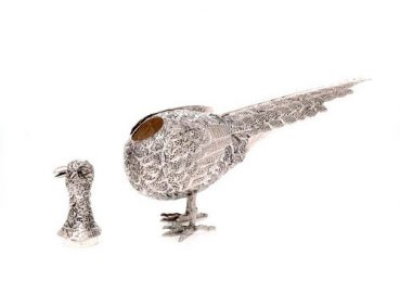 Peça decorativa em prata a representar um Faisão